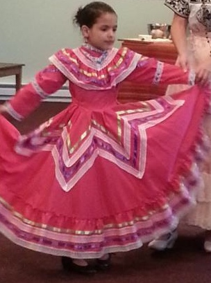 granddaughter in red dancing dress